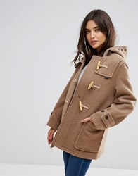Gloverall Mid Mony Wool Blend Duffle Coat Old Beige