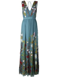 Alice Olivia Alice Olivia Floral Embroidery Gown Blue