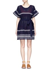 Lisa Marie Fernandez 'Fiesta' Zigzag Stripe Eyelet Cotton Lace Dress Blue