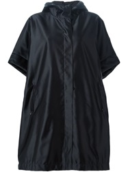 Jil Sander Navy Hooded Shortsleeved Raincoat Black