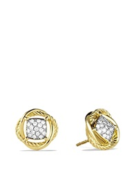David Yurman Infinity Earrings With Diamonds Yellow Gold