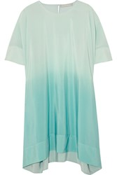 Richard Nicoll Stella Degrade Silk Crepe De Chine Mini Dress Green