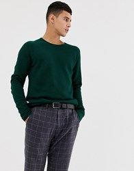 Selected Homme Crew Neck Jumper In Green Rain Forest