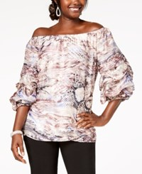 Msk Printed Off The Shoulder Balloon Sleeve Top Mauve