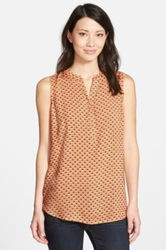 Sandra Ingrish Split Neck Sleeveless Tunic Orange