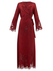 Carine Gilson Chantilly Lace Trimmed Silk Satin Robe Red