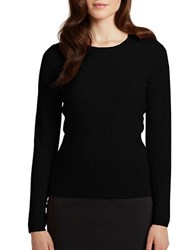 Lord And Taylor Petite Cashmere Crew Neck Sweater Jet Black