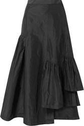 3.1 Phillip Lim Asymmetric Ruffled Silk Taffeta Midi Skirt Black