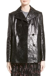 Valentino Women's Double Breasted Crackled Leather Coat