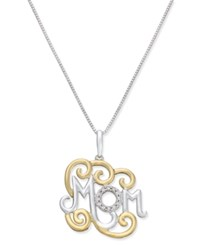 Macy's Diamond 'Mom' Pendant Necklace 1 10 Ct. T.W. In Sterling Silver And 14K Vermeil Two Tone