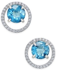 Macy's Gemstone 1 1 2 Ct. T.W. And Diamond 1 6 Ct. T.W. Round Halo Birthstone Stud Earrings In Sterling Silver London Blue Topaz
