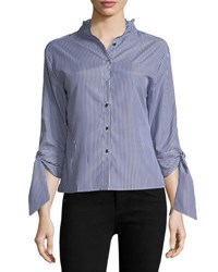 Haute Rogue Lisa Striped Blouse With Tie Sleeves Navy