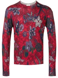 Etro Floral Print Sweater Red