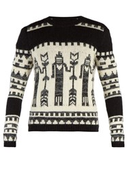 Saint Laurent Totem Knit Crew Neck Sweater Black White