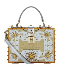 Dolce And Gabbana Embellished Mirrored Perspex Box Tote Female Gold