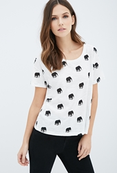 Forever 21 Tusked Elephant Print Tee