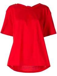 Le Ciel Bleu Drape Back T Shirt Red