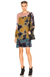 Raquel Allegra Bell Sleeve Vintage Dress In Purple Yellow Blue Ombre And Tie Dye Purple Yellow Blue Ombre And Tie Dye