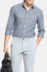 Wallin And Bros 'Workwear' Trim Fit Chambray Sport Shirt Blue