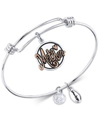 Unwritten Two Tone Thank You For All You Do Mother Adjustable Bangle Bracelet In Stainless Steel And Gold Tone Stainless Steel