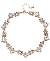 Jewel Badgley Mischka Rose Gold Tone Crystal Collar Necklace 15 3 Extender