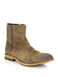 Frye Ethan Double Zip Leather Moto Boots Tan