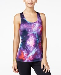 Energie Active Juniors' Robbie Reversible Racerback Tank Top Galaxy Print Black