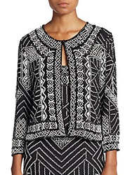 Parker Valentina Beaded Silk Jacket Black Ivory