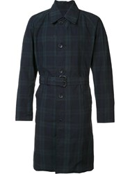 Engineered Garments Checked Trench Coat Blue
