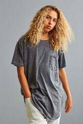 Urban Outfitters Uo Burnout Long Loose Pocket Tee Charcoal
