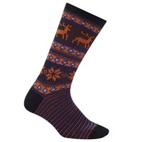 John Lewis Yamato Deer Snow Socks One Size Black Orange