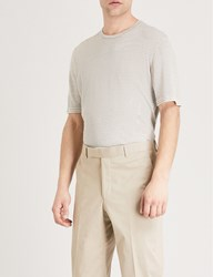 Gieves And Hawkes Striped Cotton Jersey T Shirt Sand