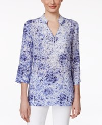 Charter Club Embellished Printed Tunic Only At Macy's Worldly Blue