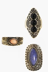 Boohoo Stone Detail Vintage Eastern Ring Pack Gold
