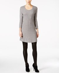 Ny Collection Petite Cable Knit Sweater Dress Grey Heather