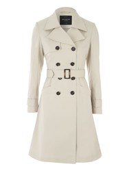 Jane Norman Beige Pleated Button Trench Coat Stone