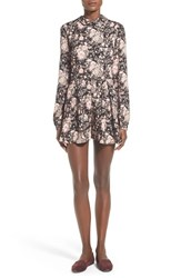 Junior Women's Sienna Sky Floral Print Long Sleeve Romper