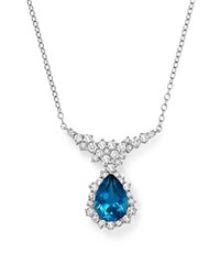 Bloomingdale's London Blue Topaz And Diamond Teardrop Necklace In 14K White Gold 16
