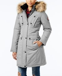 Madden Girl Faux Fur Trim Hooded Parka Titanium