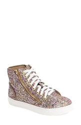 Steve Madden Women's 'Earnst' High Top Sneaker Glitter Multi Purple