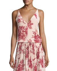 Giada Forte Liberty Floral Print Velvet Camisole Top Red Pattern