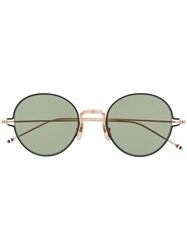 Thom Browne Eyewear Tb915 Gold Round Eye Sunglasses 60