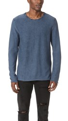 Scotch And Soda Garment Dyed Crew Neck Pullover Navy