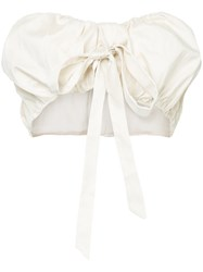 Cult Gaia Strapless Bow Detail Cropped Top White