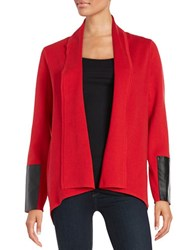 Karl Lagerfeld Paris Faux Leather Accented Knit Cardigan Red