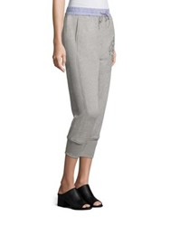3.1 Phillip Lim Embroidered Cotton French Terry Jogger Pants Grey Melange