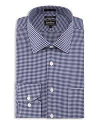 Neiman Marcus Trim Fit Houndstooth Check Dress Shirt Navy