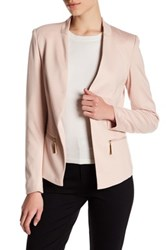 Carmen Carmen Marc Valvo Long Sleeve Blazer With Zip Pockets Petite Pink