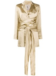 L'autre Chose Metallic Finish Belted Jacket Gold