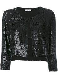 P.A.R.O.S.H. Cropped Sequin Cardigan Black